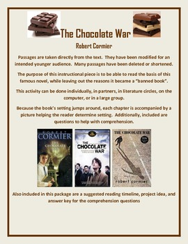 The Chocolate War Modified for Younger Audience Text, Q's,