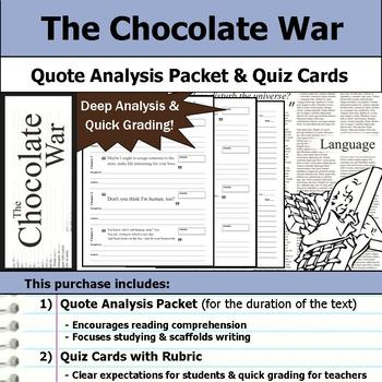 The Chocolate War - Quote Analysis & Reading Quizzes