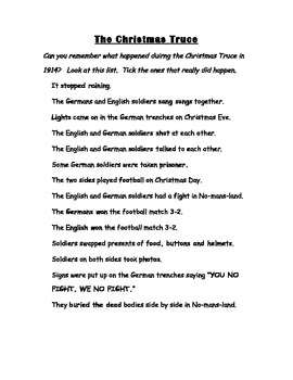 The Christmas Truce 1914 history recap tick sheet
