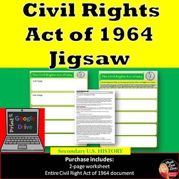 The Civil Rights Act of 1964 Jig Saw Activity (PDF & Google Doc)