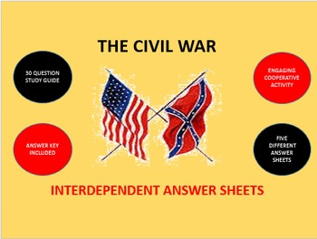 The Civil War: Interdependent Answer Sheets Activity