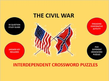 The Civil War: Interdependent Crossword Puzzles Activity
