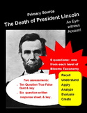Civil War Primary Source:  Lincoln's Death  (with question