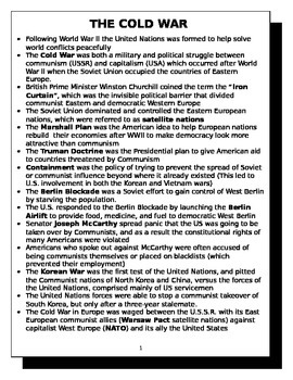 The Cold War review sheet