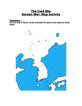 The Cold War: Korean War Map Activity with Key!!!