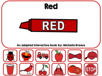 The Color Red- Adapted Interactive Book {Autism, Early Chi