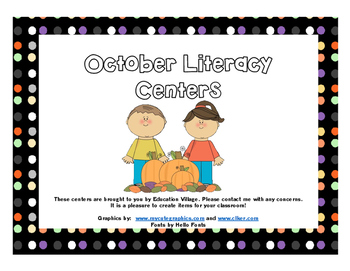 The Complete October Literacy Centers