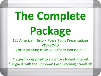 The Complete Package - 185 American History PowerPoints, N