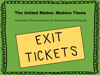 The Constitution, Our Economy, Personal Finance Exit Tickets