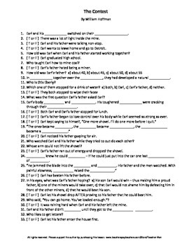 The Contest by William Hoffman Complete Guided Reading Worksheet