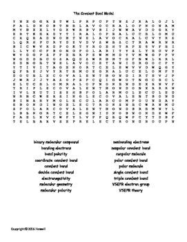 The Covalent Bond Model Vocabulary Word Search for General