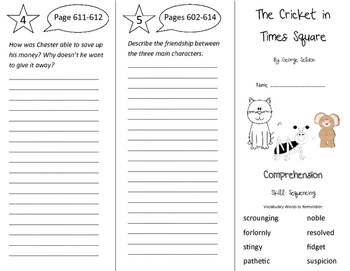The Cricket in Times Square Trifold - Storytown 4th Grade