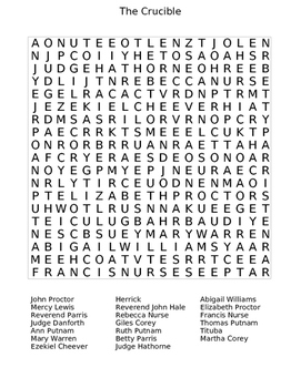The Crucible Wordsearch