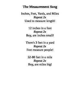 The Customary Measurement Song