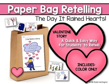 The Day It Rained Hearts {Paper Bag Retelling} for Valenti