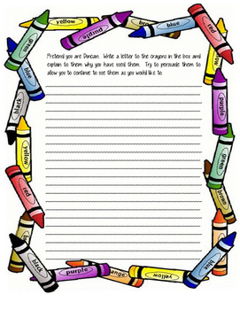 The Day the Crayons Quit Letter Assignment
