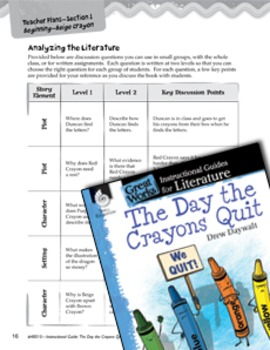 The Day the Crayons Quit Leveled Comprehension Questions