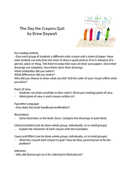 The Day the Crayons Quit – Teaching Literary Skills with P