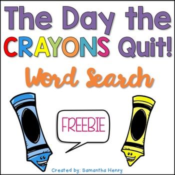 The Day the Crayons Quit Word Search FREEBIE