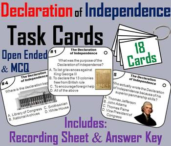 The Declaration of Independence Task Cards (American Gover