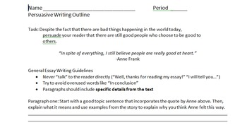 The Diary of Anne Frank- Persuasive Essay Outline