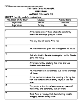 The Diary of a Young Girl- Anne Frank- Comprehension Quest