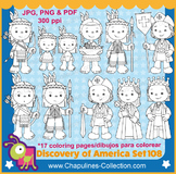 The Discovery of America clipart, Black and White, Columbu