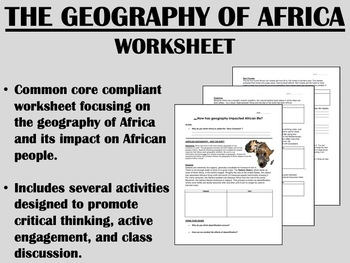 The Geography of Africa worksheet - Global/World History C