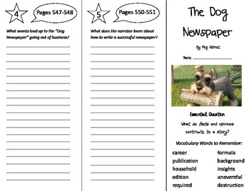 The Dog Newspaper Trifold - Journeys 5th Gr Unit 4 Wk 3 (2