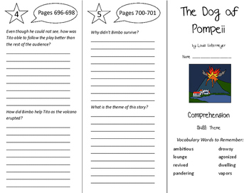The Dog of Pompeii Trifold - Treasures 6th Grade Unit 6 Week 5