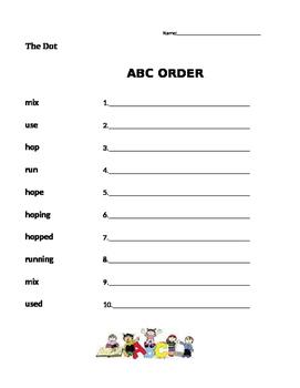 The Dot  Journeys 1st Grade- ABC Order