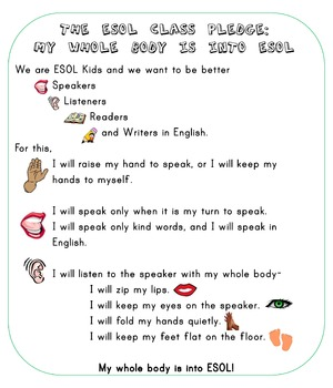 The ESOL Class Pledge Poster