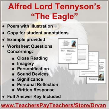 """The Eagle"" by Alfred Lord Tennyson (poetry analysis worksheet)"