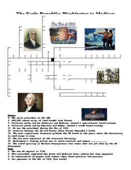 The Early Republic: Washington to Madison Vocab Crossword