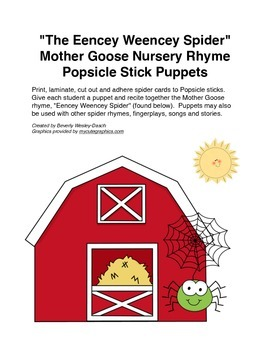 """The Eencey Weencey Spider"" Mother Goose Rhyme Popsicle St"