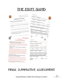 The Egypt Game: Final Summative Assessment (Test)
