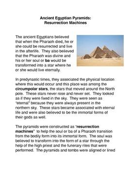 The Egyptian Pyramids: Resurrection Machines Common Core A