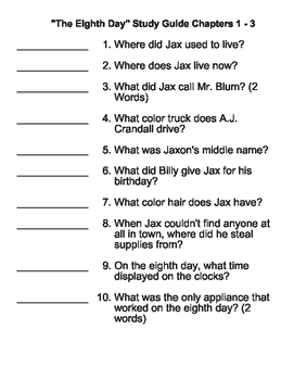 The Eighth Day by Dianne K. Salerni - Study Guide Chapters 1 - 3