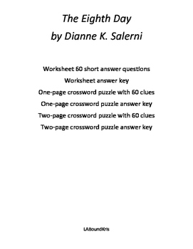 The Eighth Day by Dianne K. Salerni Study Guide, Quiz, and