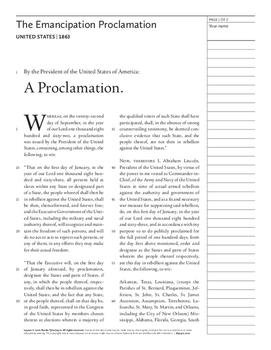 The Emancipation Proclamation (United States, 1863)