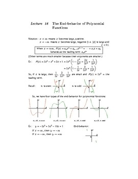 The End-behavior of Polynomial Functions. Lecture 18