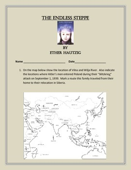 The Endless Steppe by Hautzig - Novel Questions and Map Un
