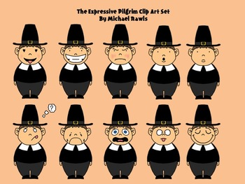 The Expressive Pilgrim -- Thanksgiving Clip Art Collection