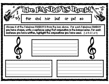 The FANBOYS Rock:  Conjunctions & Compound Sentences Activity