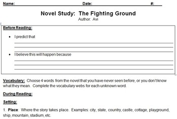 The Fighting Ground by Avi Novel Study Contract