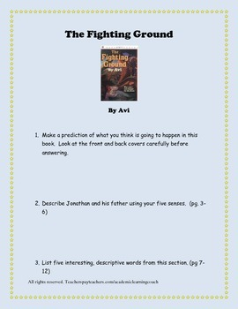 The Fighting Ground by Avi - Questions, Worksheets, Hessia