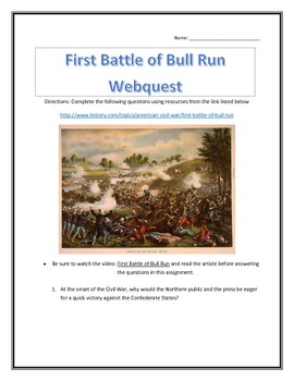 The First Battle of Bull Run- Webquest and Video Analysis