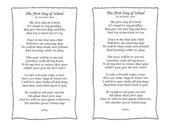 The First Day of School- A Parent Care Package Poem