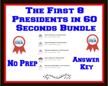 The First Five Presidents in 60 Seconds Bundle