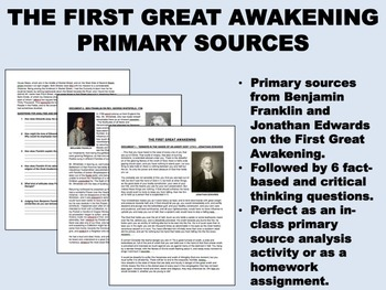 The First Great Awakening - Jonathan Edwards, Ben Franklin